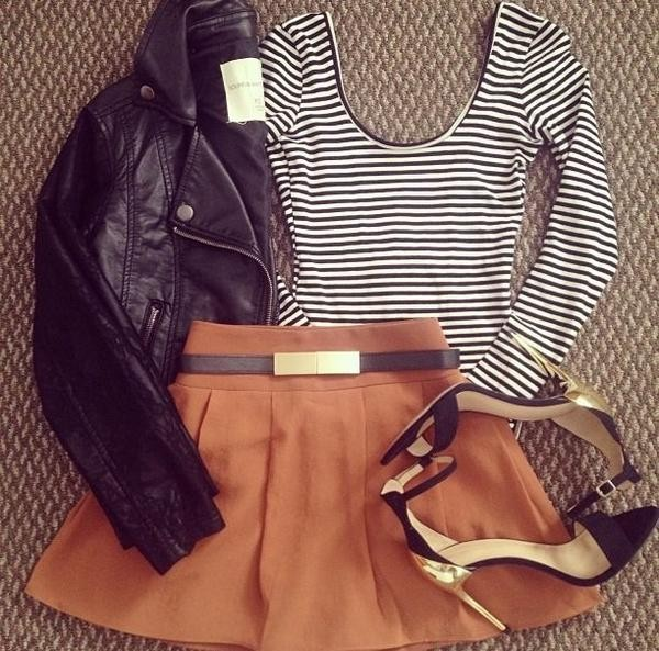 skirt belt shoes cute brown top jacket sandals outfit shirt jumper style neutral colors t-shirt