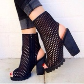 shoes,jeffrey campbell,black,summer,chunky heels,open toes,black ankle boots