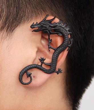jewels black dragon chinese dangerous earrings fantasy