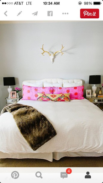 home accessory bedding bedroom girly wishlist polka dots pillow fur furniture lamp hipster