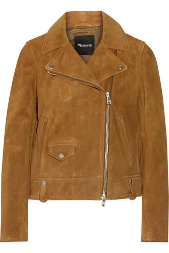jacket biker jacket suede tan mustard