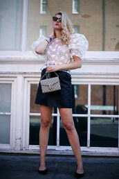skirt,mini skirt,faux leather skirt,a-line skirt,blouse,puffy sleeves,sheer blouse,pumps,clutch,gucci clutch,blogger,blogger style