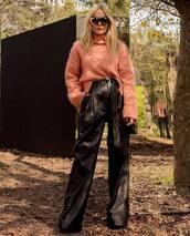 pants,black pants,high waisted pants,wide-leg pants,sweater,turtleneck sweater,oversized sweater,sunglasses