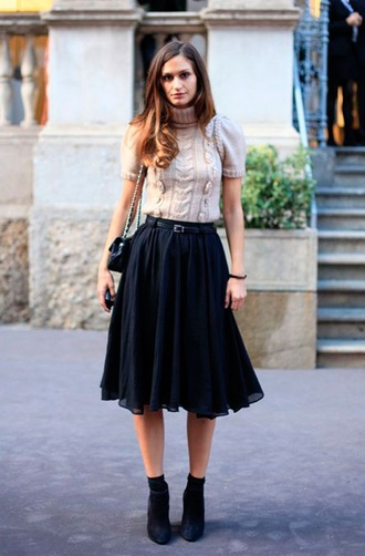 skirt black midi skirt black booties black belt nude sweater