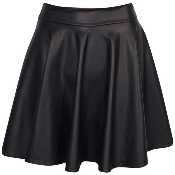 Boohoo Jules Leather Look Skater Skirt - Polyvore