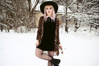 thelma malna blogger collared dress leopard print kimono pastel hair cardigan hat sunglasses dress shoes