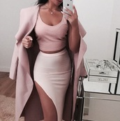 skirt,slit skirt,nuce,nude,nude skirt,slit,bodycon,party outfits,sexy,sexy outfit,summer outfits,spring outfits,fall outfits,girly,cute,date outfit,summer holidays,clubwear,wedding clothes,wedding guest,romantic,dope,pink,pink skirt,outfit,outfit idea,cute outfits,winter outfits,clothes,trendy,fashion,style,stylish,streetstyle,streetwear,coat,winter coat,trench coat,long coat,fall coat,long sleeves,pink coat,pencil skirt,high waisted skirt,top,summer top,cute top,pink top,crop tops,jacket