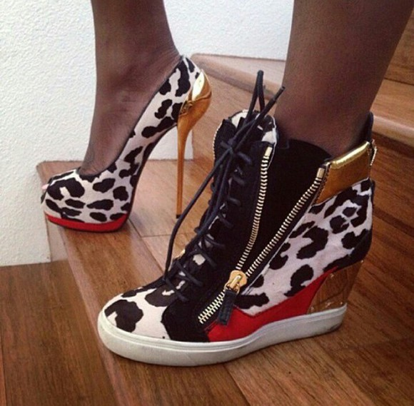 high heels sneakers trainers trainers chic leopard print high heels