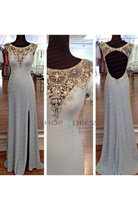 Line scoop floor length chiffon white evening dress with rhinestone npd098110 sale at shopindress.com
