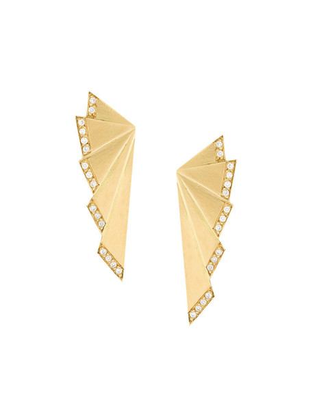 Ileana Makri women earrings gold yellow grey metallic jewels