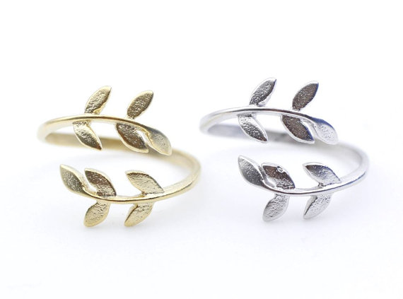 Bay leaf ring in gold and silveradjustable by zizibejewelry