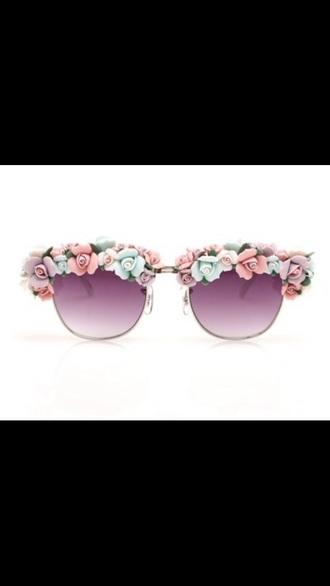 sunglasses glasses floral flower flowers flowered pastel cute girl girly flirty summer roses rose
