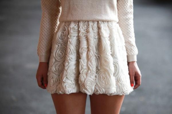 skirt floral flowers beige