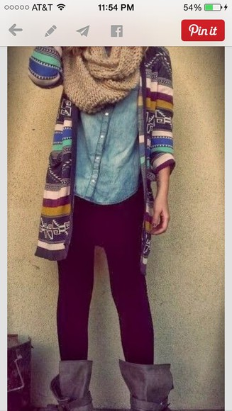 black leggings jacket tan scarf aztec jacket tribal jacket