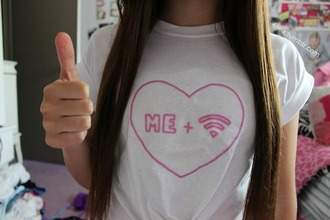 t-shirt wifi internet cool pink white top shirt heart couple tumblr