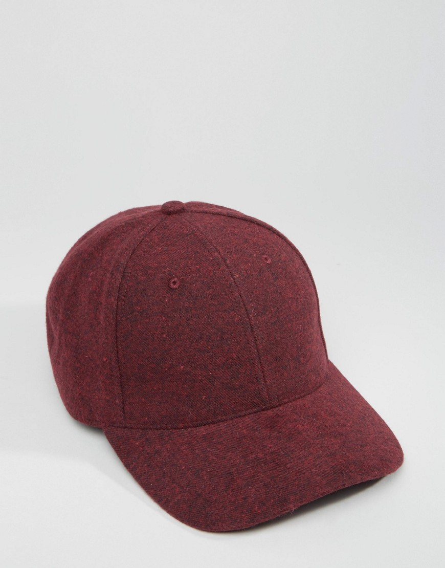 ASOS Baseball Cap In Burgundy Melton at asos.com