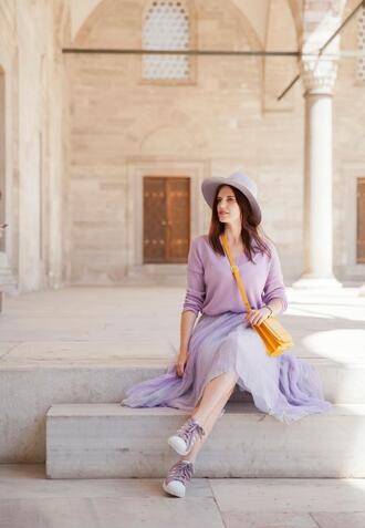 the bow-tie blogger skirt sweater bag hat purple skirt purple sweater sneakers crossbody bag yellow bag spring outfits