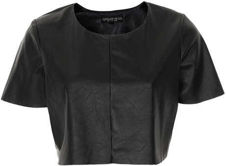 c87c3dbf50f0 Topshop Petite Leather Look Crop Top in Black