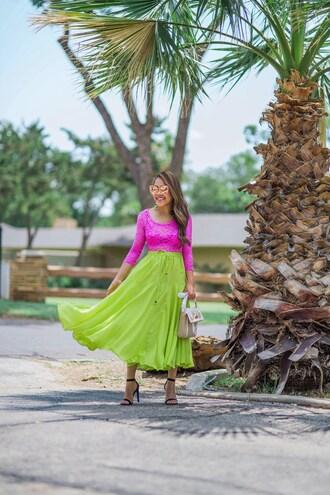 skirt maxi skirt long sleeve shirt t-shirt sandals high heel sandals sunglasses lace top