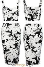 dress,floral,crop tops,midi skirt,tropical,skirt top suit,two-piece,celeb,summer,elegant,casual,trendy,sag,dope,spring,black,white,palm tree,sexy,celebrity style,retro,vintage,Pin up