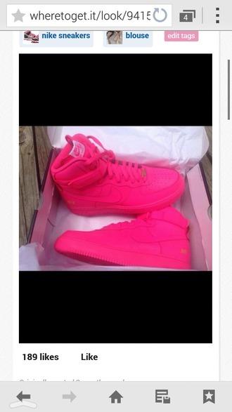 pink high top sneakers fluo