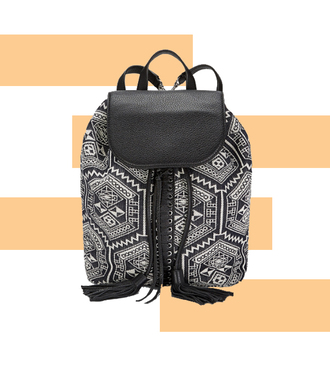 bag backpack back to school black and white tribal pattern rebecca minkoff aztec woven backpack