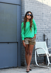 sincerely jules,blouse,shorts,sunglasses,shoes,jewels,valentino rockstud,sweatshirt,green top,long sleeves,animal print,sandals,mid heel sandals,black sandals,studded shoes