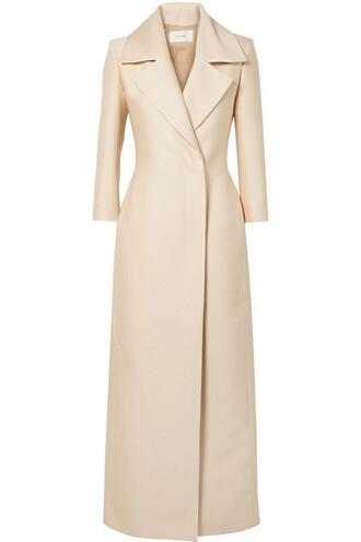 coat white silk off-white