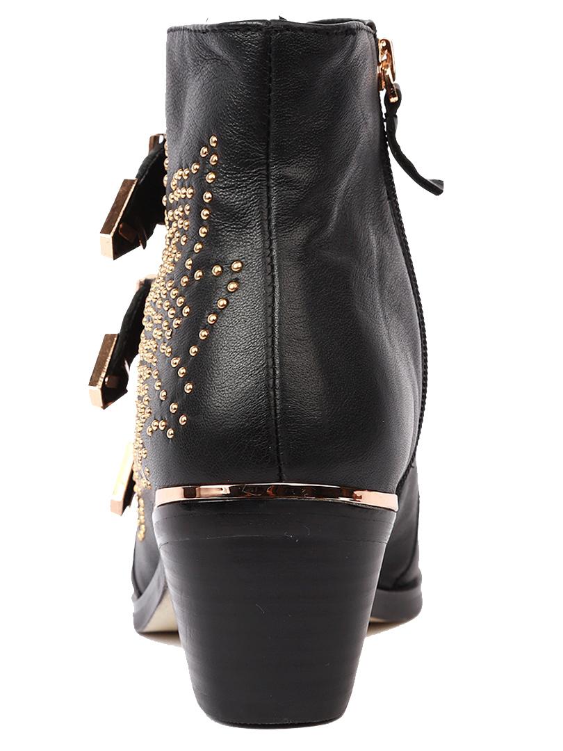 Boots Style Rétro Avec Boucles Métalliques Et Rivets à Bout Pointu - Choies.com