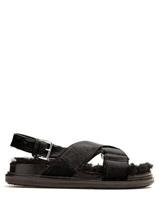 hair fur sandals brown shoes