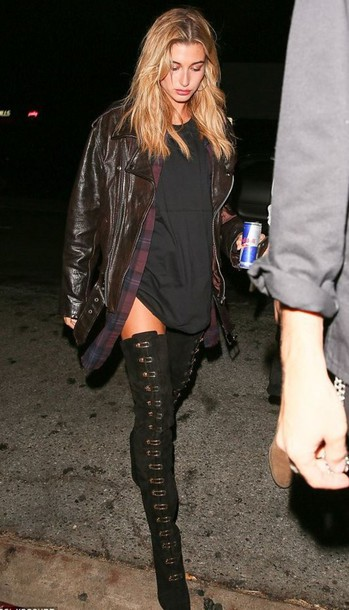 dress boots hailey baldwin jacket shirt over the knee boots model off-duty fall outfits