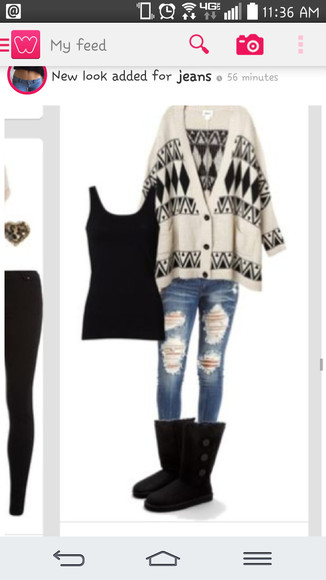 black and white jeans cardigan aztec sweater