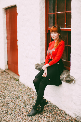 the clothes blogger sweater skirt tights shoes bag red sweater black skirt