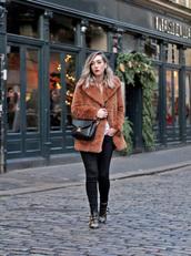 coat,black,tumblr,fur coat,brown coat,pants,boots,black boots,ankle boots,bag,black bag
