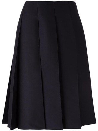 skirt pleated skirt pleated women lace blue silk wool