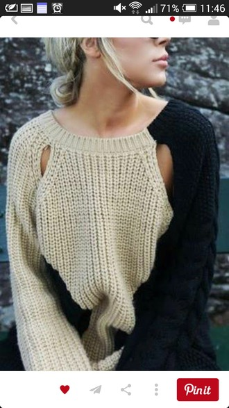 sweater cut out sweater two coloured knitted sweater