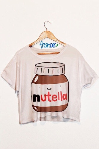 t-shirt nutella shirt in love freshtops nutella shirt blouse top cartoon white crop tops kawaii crop tops