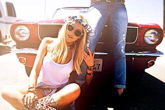 cheyenne meets chanel shoes sunglasses jacket belt shorts