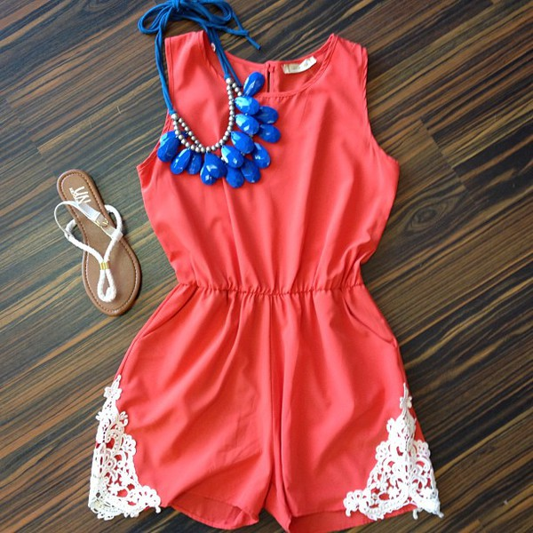 romper coral lace coral romper blouse