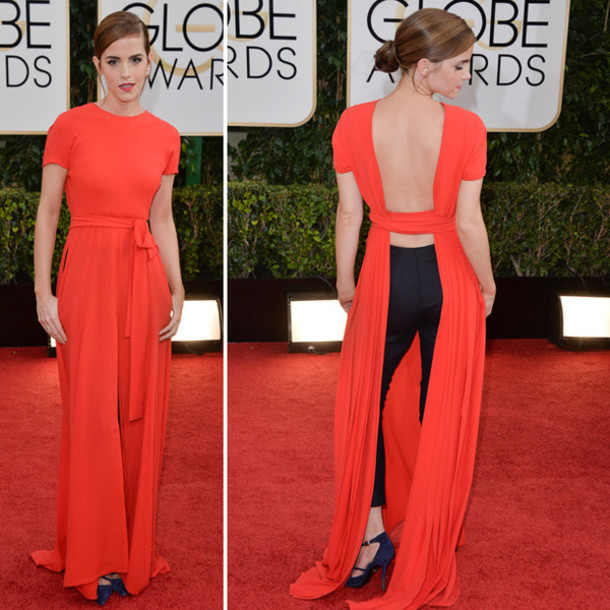 Dress: emma watson, dior, maxi dress, red dress, backless dress ...