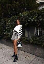 kenza,blogger,sweater,skirt,shoes,bag,ankle boots,fall outfits