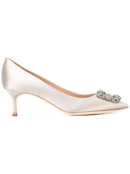 Manolo Blahnik heel mid heel pumps women pumps leather silk satin grey shoes
