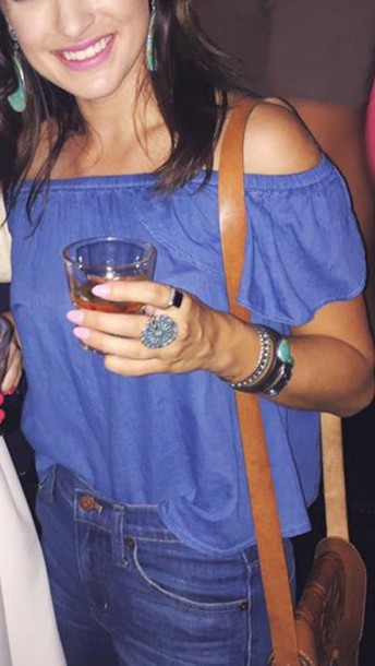 top clothes off the shoulder blue