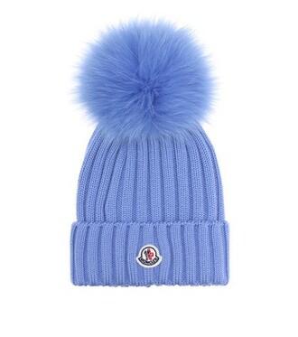 fur beanie wool blue hat