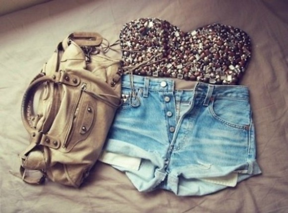 sequins shirt buttons cute shorts crop tops black pretty sparkles gold purses blue shorts bustier bag tank top studs bling corset denim shorts leather bag t-shirt high waisted short bandeau sequin top glittery blouse