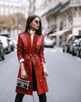 coat leather coat tumblr red coat bag boxed bag handbag streetstyle fall outfits