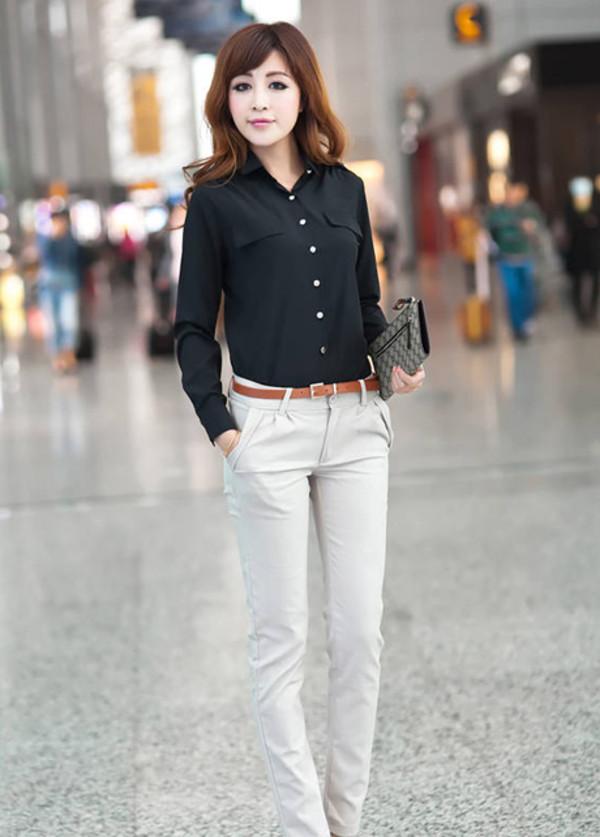 shirt black blouse style