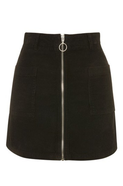 Topshop skirt mini skirt denim mini zip black
