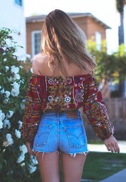 665c01505fc91c blouse top boho bohemian off the shoulder top peasant top boho chic fashion  hippie multipatron t