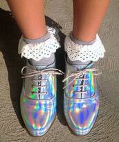 shoes,silver,groovy,holographic shoes,holographic,metallic shoes,metallic,derbies